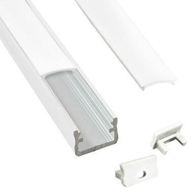 Profil do taśmy LED natynkowy 1 m biały + zaślepki POLUX