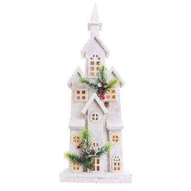 Drewniany domek / kościółek 55 x 17 x 9 cm biały 10 LED