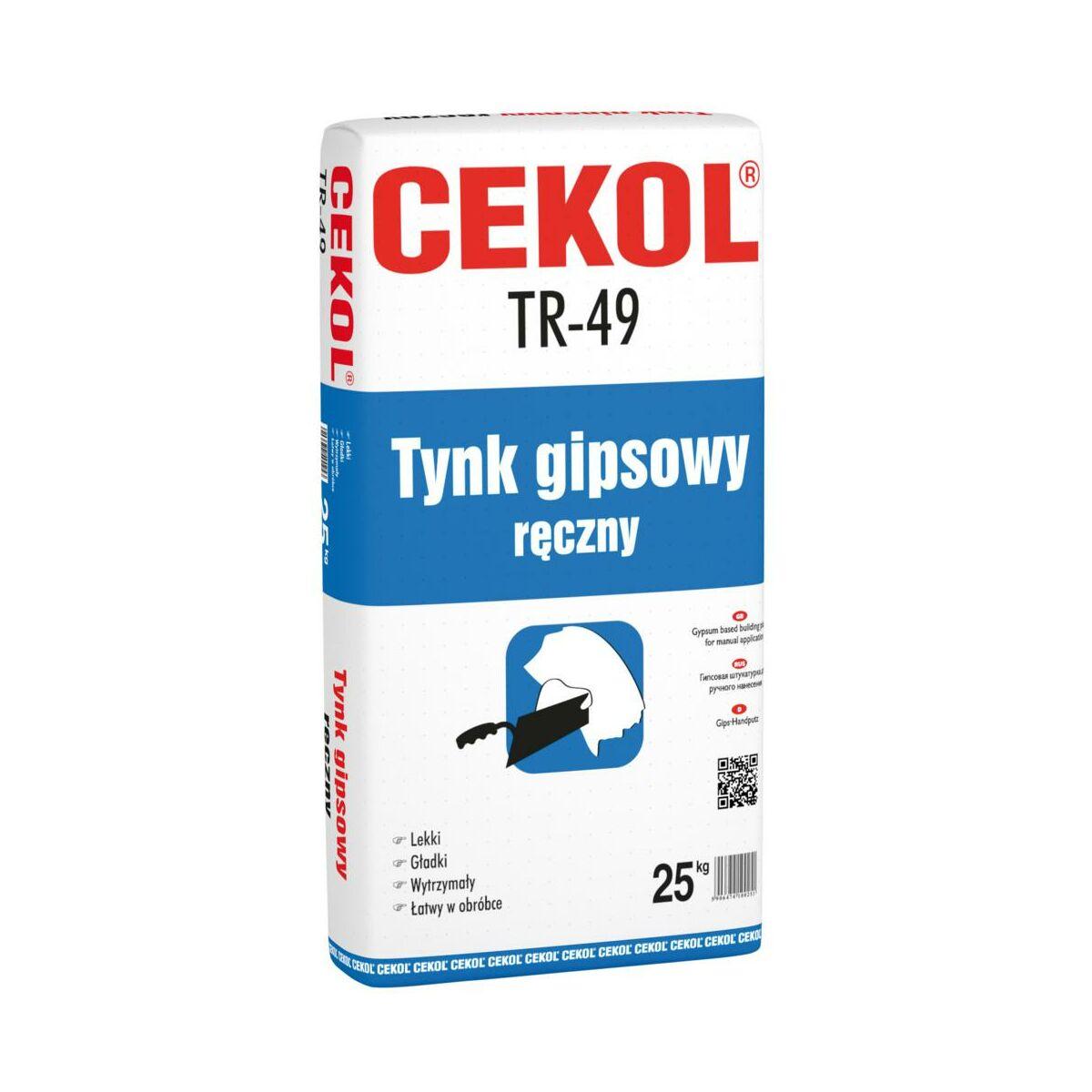 Tynk GIPSOWY RĘCZNY TR – 49 Ecru 25 kg CEKOL