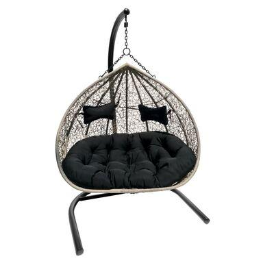 Fotel wiszący MOON2 czarno-beżowy