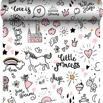 Tapeta dla dzieci Little Princess różowa winylowa na flizelinie