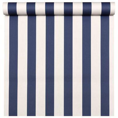 Tapeta w pasy BAMBINO biało-niebieska papierowa