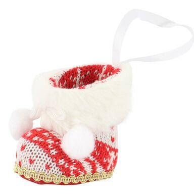 Zawieszka bucik w sweterku 6 cm 1 szt. czerwony