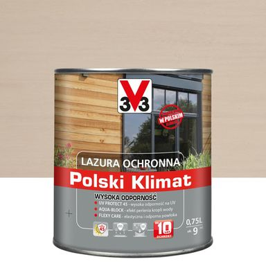 Lazura do drewna Polski klimat 0.75 l Biały kremowy V33