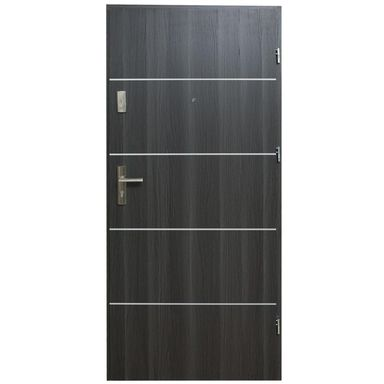 Drzwi zewnętrzne MDF Hektor 32 dB Dąb Grafit 4 90 Prawe otwierane do wewnątrz Domidor
