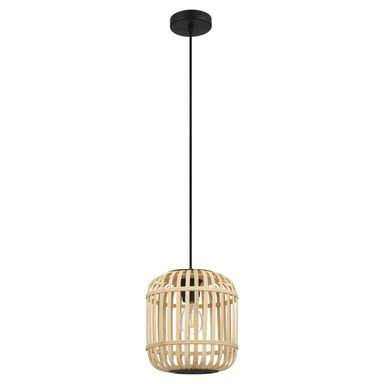 Lampa wisząca BORDESLEY drewno czarna E27 EGLO