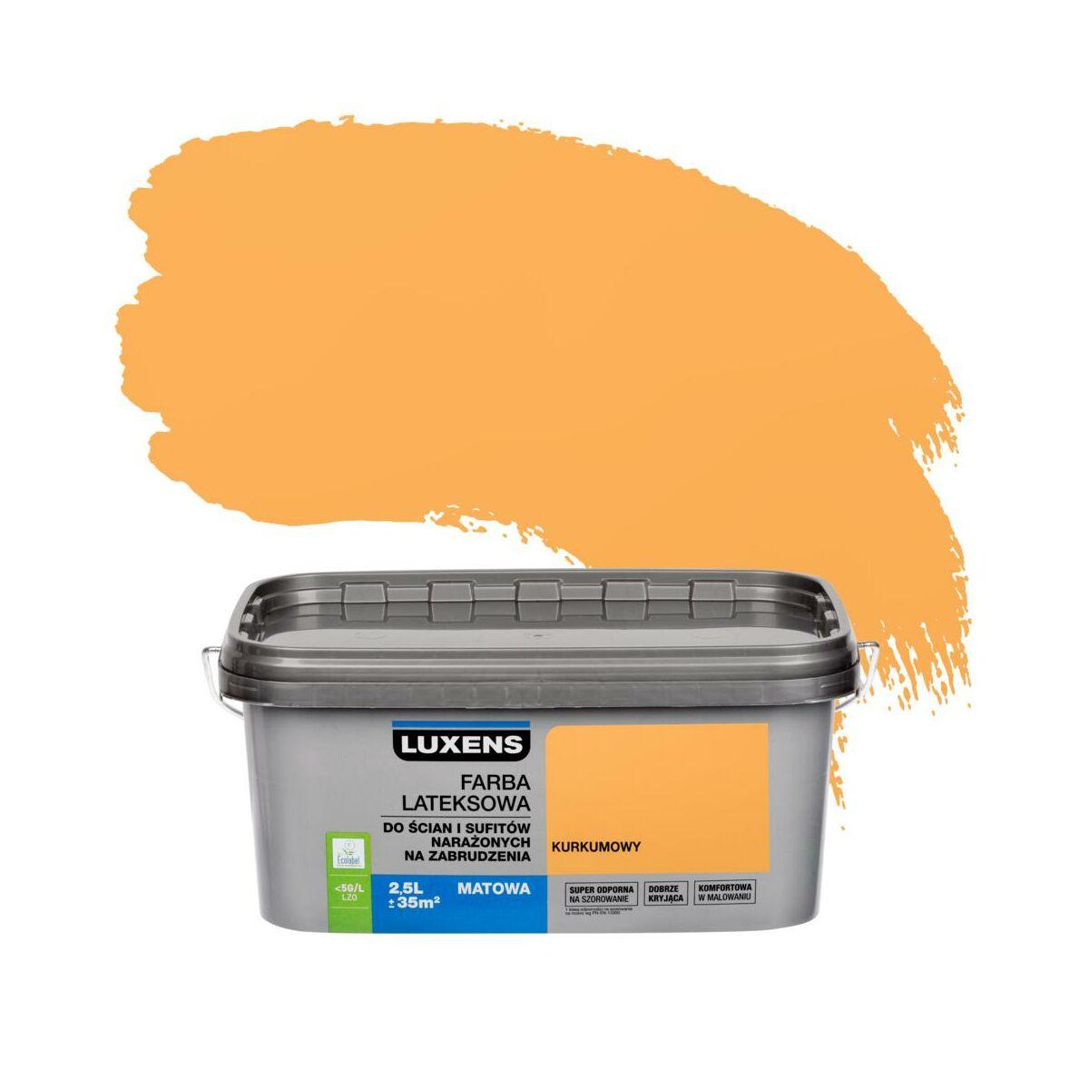 Farba wewnętrzna NARAŻONYCH NA ZABRUDZENIA 2.5 l Kurkumowy LUXENS