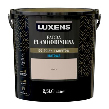 Farba wewnętrzna PLAMOODPORNA 2.5 l Bistro 6 LUXENS