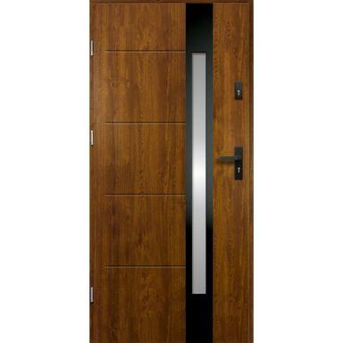 Drzwi zewnętrzne stalowe ARIADNA Złoty dąb 80 Lewe