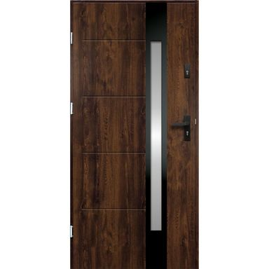 Drzwi zewnętrzne stalowe ARIADNA Orzech 90 Lewe