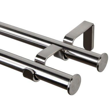 Karnisz OSLO 200 cm podwójny srebrny 19 mm metalowy