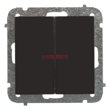 Włącznik podwójny Z PODŚWIETLENIEM SENTIA  Czarny  ELEKTRO-PLAST