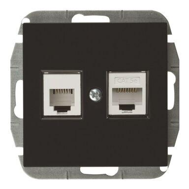 Gniazdo telefoniczno - komputerowe RJ11/RJ45 SENTIA  Czarny  ELEKTRO-PLAST