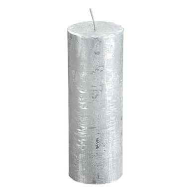 Świeca pieńkowa Rustic Metallic srebrna wys. 19 cm Bolsius