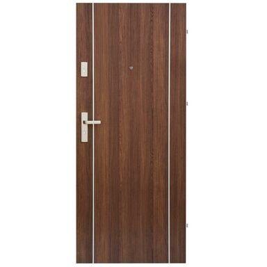 Drzwi zewnętrzne drewniane Iryd 02 orzech premium 80 Prawe Domidor