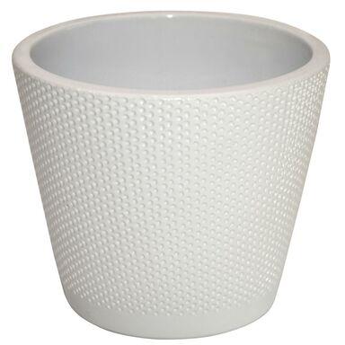 Osłonka na doniczkę 13.9 cm ceramiczna biała STOŻEK