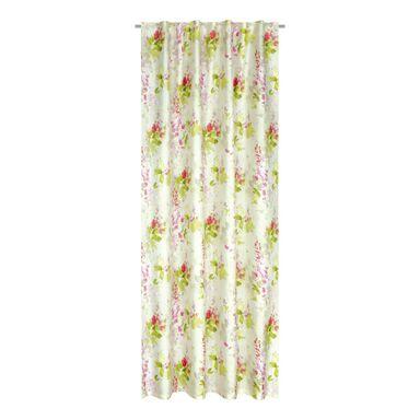 Zasłona Ore bordowa 160 x 250 cm na taśmie w kwiaty