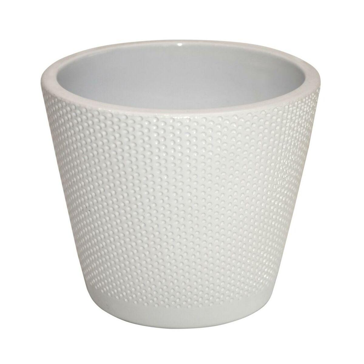 Osłonka Na Doniczkę 173 Cm Ceramiczna Biała Stożek Ceramik