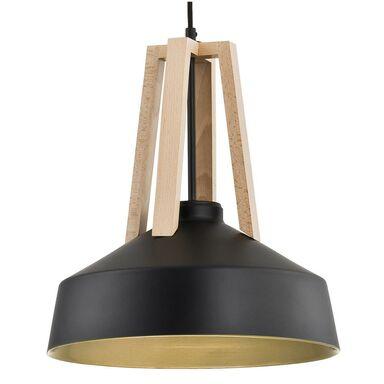 Lampa wisząca DROP czarna z drewnem E27 ALFA