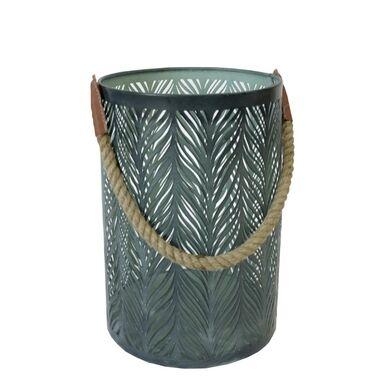 Lampion indyjski na świeczkę Modern wys. 29 cm metalowy zielony