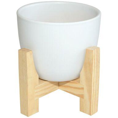 Osłonka ceramiczna 16 cm biała na stojaku drewnianym CERAMIK