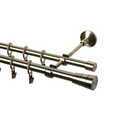 Karnisz SYCYLIA 160 cm podwójny antyczne złoto 20/16 mm metalowy