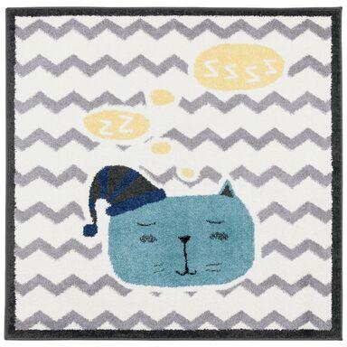 Dywan dziecięcy SLEEPY kremowo-niebieski kwadratowy 120 x 120 cm