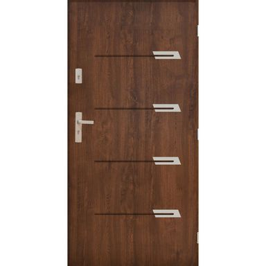 Drzwi zewnętrzne stalowe  MONAKO Orzech 80 Prawe PANTOR