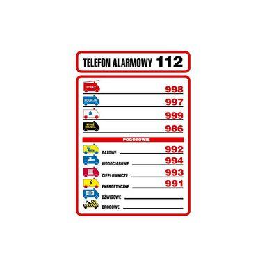Znak informacyjny TELEFONY ALARMOWE