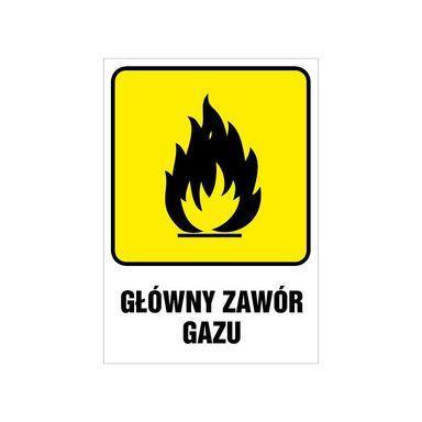 Znak informacyjny GŁÓWNY ZAWÓR GAZU 14.8 x 21 cm