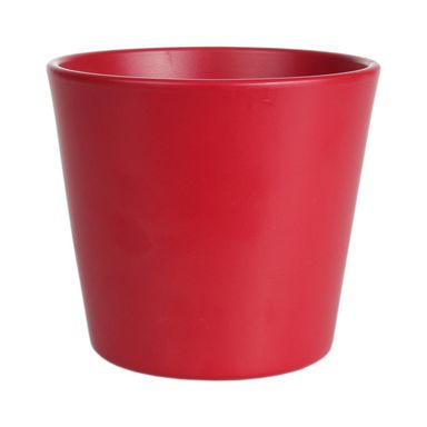 Osłonka na doniczkę 15.5 cm ceramiczna czerwona