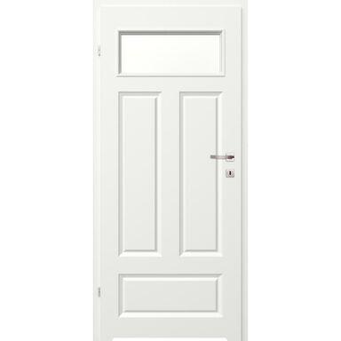 Skrzydło drzwiowe łazienkowe z szybą z podcięciem wentylacyjnym Morano I Białe 70 Lewe Classen