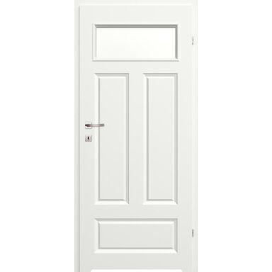 Skrzydło drzwiowe łazienkowe z szybą z podcięciem wentylacyjnym Morano I  Białe 90 Prawe Classen