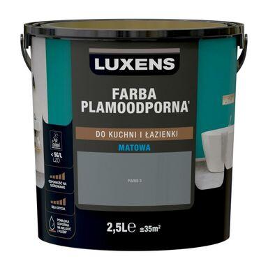 Farba wewnętrzna PLAMOODPORNA do kuchni i łazienki 2.5 l Paris 3 LUXENS