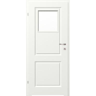 Skrzydło drzwiowe łazienkowe z szybą z podcięciem wentylacyjnym Morano II Białe 80 Lewe Classen