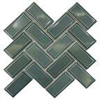 Mozaika Metro Green Chevron Glossy 27.9 x 27.4 Artens