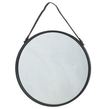 Lustro okrągłe BARBIER na pasku czarne śr. 55 cm INSPIRE