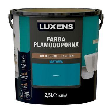 Farba wewnętrzna PLAMOODPORNA do kuchni i łazienki 2.5 l Miami 3 LUXENS