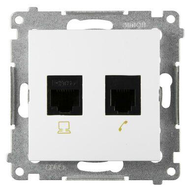 Gniazdo telefoniczno - komputerowe RJ12/ RJ45 SIMON54  biały  KONTAKT SIMON