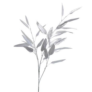 Gałązka z długimi liśćmi 116 cm srebrna