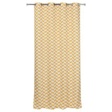 Zasłona gotowa CARRE JAUNE  kolor Żółty 140 x 240 cm Kółka 130 g/m²  JBY