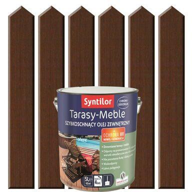 Olej zewnętrzny TARASY-MEBLE szybkoschnący 5 l Brąz ciemny SYNTILOR