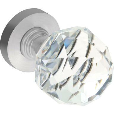 Gałka drzwiowa Ruchoma kryształowa przezroczysta nikiel Kuchinox