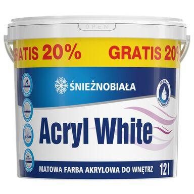 Farba wewnętrzna do ścian i sufitów ŚNIEŻNOBIAŁA 12 l ACRYL WHITE