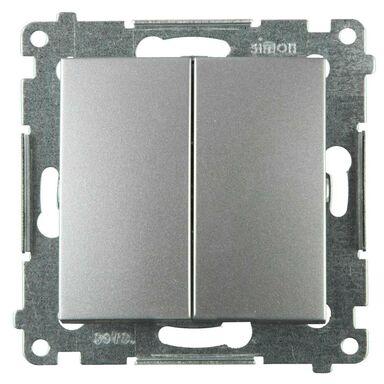 Włącznik podwójny SIMON 54  srebrny  SIMON