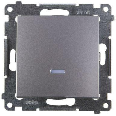 Włącznik pojedynczy z podświetleniem SIMON 54  srebrny  SIMON