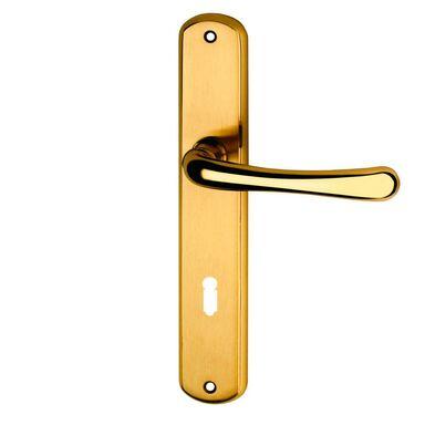 Klamka drzwiowa z długim szyldem pod klucz GAJA 72 Mosiądz SCHAFFNER