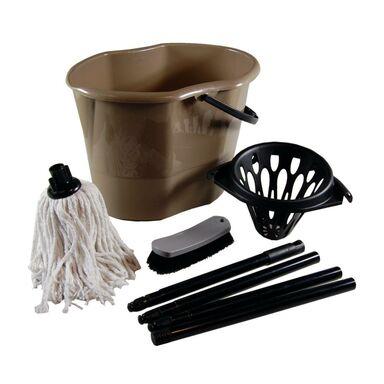 Zestaw do sprzątania: wiadro, mop z kijem, szczotka IMPACT