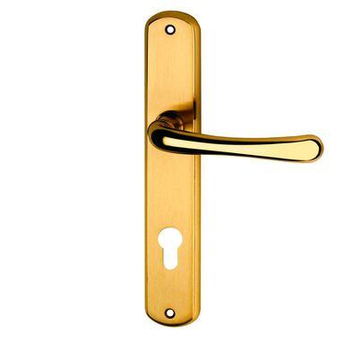 Klamka drzwiowa z długim szyldem do wkładki GAJA 72 Mosiądz SCHAFFNER