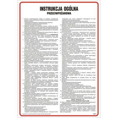Znak informacyjny INSTRUKCJA PRZECIWPOŻAROWA wys. 0.2 cm